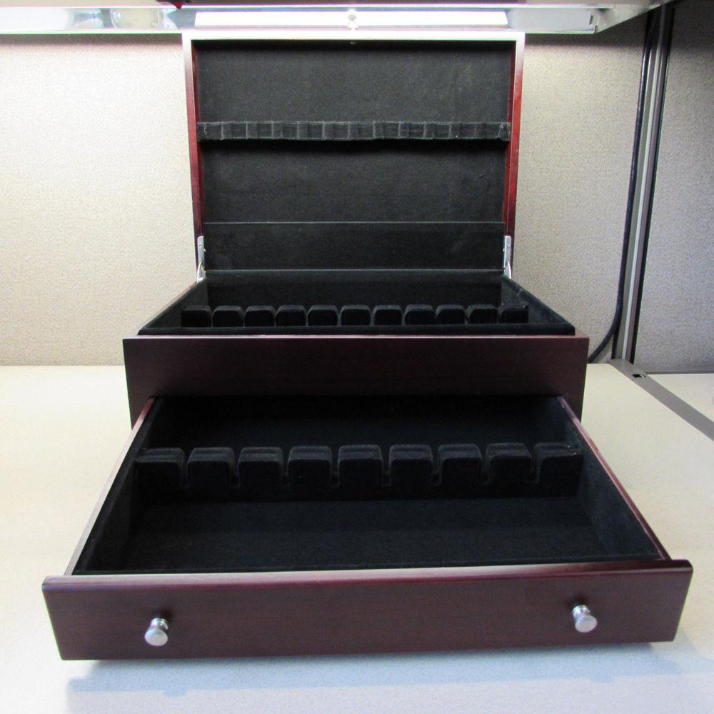 Wallace Dark Walnut Single Drawer Footed Flatware Storage Chest